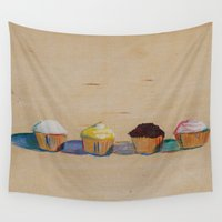 cupcakes Wall Tapestries featuring Cupcakes by ExtractionEngine meets Fluff & Grumble
