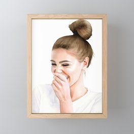 Joy - Watercolor Painting of Woman Laughing, Girl with a Bun Framed Mini Art Print