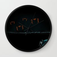 tron Wall Clocks featuring TRON RECOGNIZERS by The ED13
