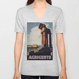Vintage 1920s Agrigento Italian travel ad Unisex V-Neck