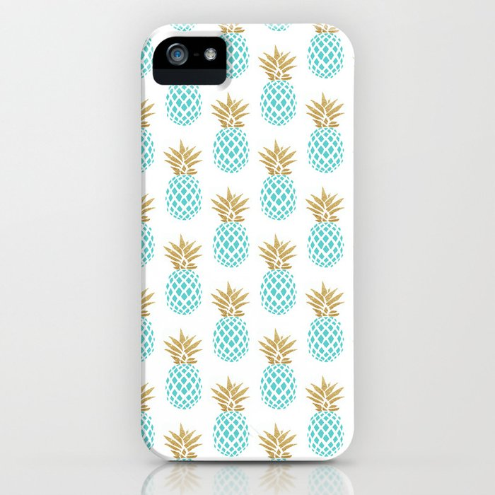 elegant faux gold pineapple pattern iphone case