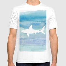 shark White MEDIUM Mens Fitted Tee