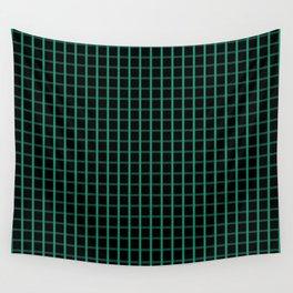 Small Elf Green on Black Grid Pattern | Wall Tapestry