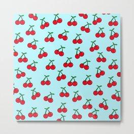 Cherries 4 (on blue) Metal Print