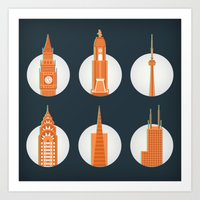 cities Art Prints featuring Cities by Monica O