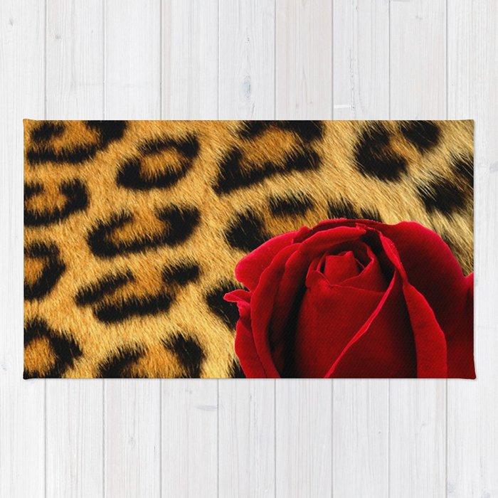 Leopard Print Red Rose Rug