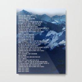 Tequila Song Lyric Art Inspired by Dan + Shay Metal Print