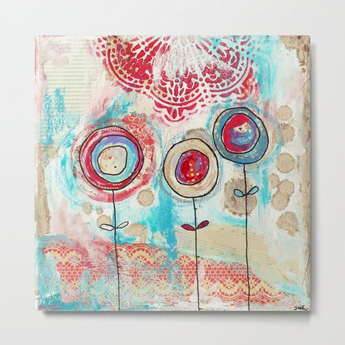 1 red, 1 cream, 1 blue flower Metal Print