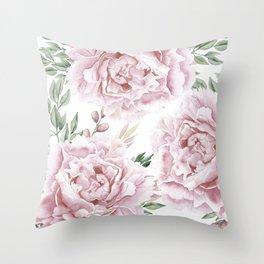 Pretty Pink Roses Flower Garden Throw Pillow