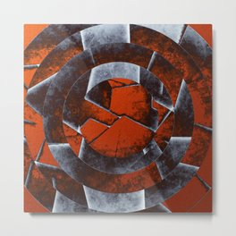 Concentric Rust - Abstract, geometric, tectured art in rustic brown, black and white Metal Print