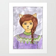 Plait Cat Art Print