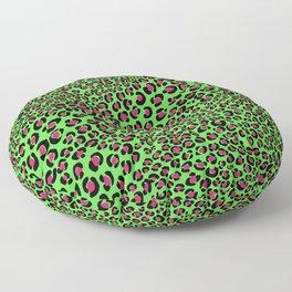 Pink Green leopard punk, pink animal print, green safari, psychobilly Floor Pillow