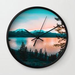 Teal & Orange Sunset Wall Clock