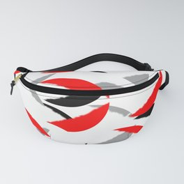 black white red grey abstract minimal pattern Fanny Pack