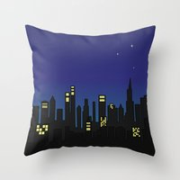 cityscape Throw Pillows featuring Cityscape by Jozi