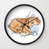 leo Wall Clocks featuring Leo by Ken Coleman