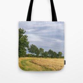 Rainclouds over treelined stubbled field. Norfolk, UK. Tote Bag