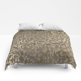 Faux gold foil abstract geometric on grey concrete cement Comforters