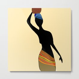 Silhouette of Village Woman, Meru Kenya Metal Print