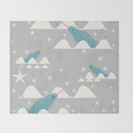 narwhal in ocean grey Throw Blanket