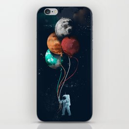Balloon astronauts and planet iPhone Skin