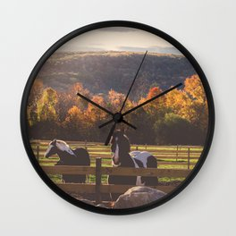 New England Fall Drive Wall Clock