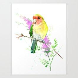 Lovebird and Flower, beautiful floral art Art Print