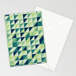 Blue And Green Geometric Grid Stationery Cards