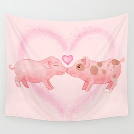 Cute Watercolor Hand-painted Little Pigs in Love I Love You Farm Animals Gift Pastel Baby Pink Color Wall Tapestry