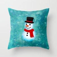 snowman Throw Pillows featuring snowman by vitamin