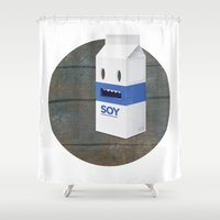 milk Shower Curtains featuring Soy Milk by mrbiscuit