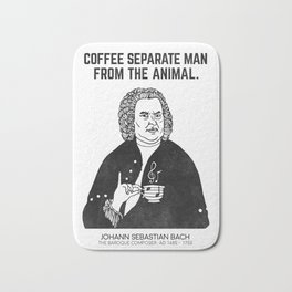 Coffee separate man from the animal. Bath Mat