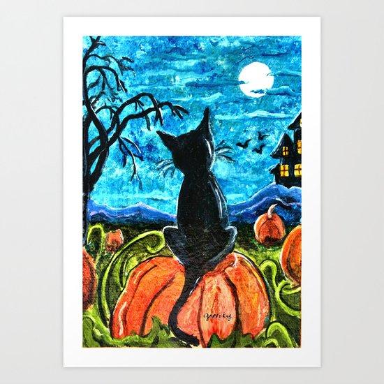 Cat in Pumpkin Patch Art Print
