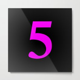 5 (FUCHSIA & BLACK NUMBERS) Metal Print