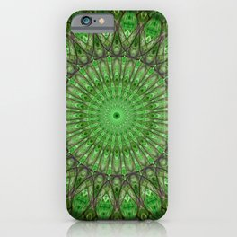 Bright green and brown mandala iPhone Case