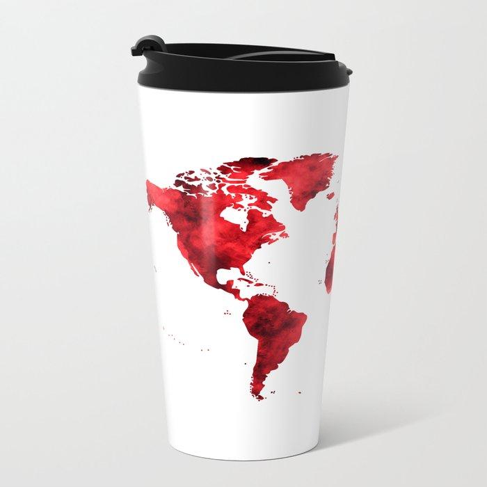World Map Red Paint Metal Travel Mug