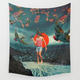 The Boy and the Birds Wall Tapestry