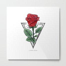 Carper Diem Rose Metal Print