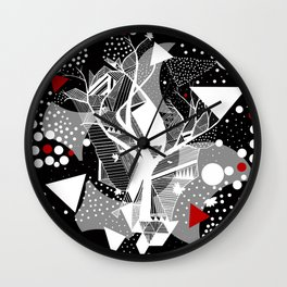 black and white abstract with touch of red Wall Clock