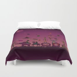 colorful circus carnival traveling in one row at night Duvet Cover