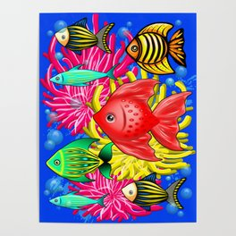 Fish Cute Colorful Doodles Poster