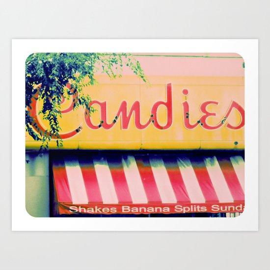 Margie's Candies ~ vintage ice cream parlor sign Art Print