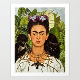 SELF PORTRAIT WITH THORN NECKLACE AND HUMMING BIRD - FRIDA KAHLO Art Print