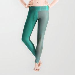 Modern abstract gray mint green teal brushstrokes ikat Leggings