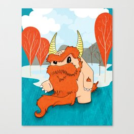 Graggy, the plump Happy Chaos Monster of Scotland Canvas Print