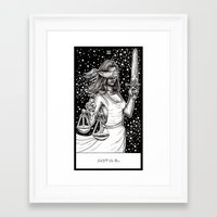 tarot Framed Art Prints featuring Justice Tarot by Corinne Elyse