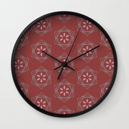 Kaitlyn purple floral deep red pattern Wall Clock