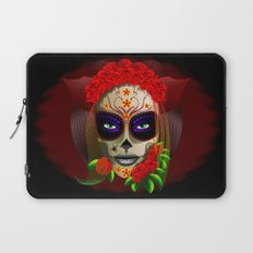 Skull Girl Dia de los Muertos Portrait Laptop Sleeve