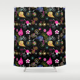 Cycledelic black Shower Curtain
