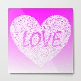 Pink Ombre Love in White Confetti Heart Metal Print